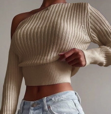 Autumn Sexy One Shoulder Short Sweater