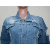 Herbstliche stilvolle blaue zerrissene Quasten-Jeansbluse