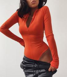 Herbst Sexy High Cut Solid Zipper Bodysuit