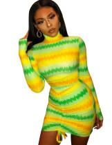 Vestido ajustado con pliegues sexy colorido estampado de otoño