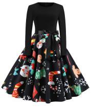 Vestido skater de manga comprida vintage preto com estampa de natal