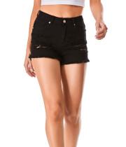 Pantalones cortos de mezclilla rasgados de cintura alta de verano