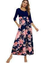 Sonbahar Yüksek Bel Çiçekli Uzun Maxi Elbise