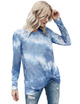Autumn Casual O-Neck Tie Dye Unregelmäßiges Hemd