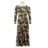 Plus Size Autumn Camou O-Neck Long Maxi Dress