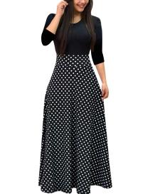 Autumn High Waist Polka Long Maxi Dress