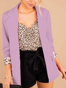 Autumn Solid Elegant Blazer with 3/4 Sleeves