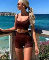 Sommersport Fitness Yoga BH und Shorts mit hoher Taille