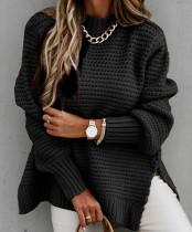 Winter Rollkragenpullover mit seitlichem Schlitz und lockerem Pullover