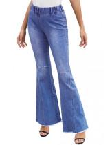 Herbst gewaschene High Waist Ripped Flare Jeans