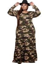 Vestido largo largo con cuello en O de camuflaje de otoño de talla grande
