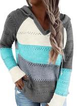 Suéter con capucha y cuello en V en contraste de otoño