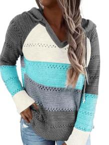Autumn Contrast V-Neck Hoody Sweater