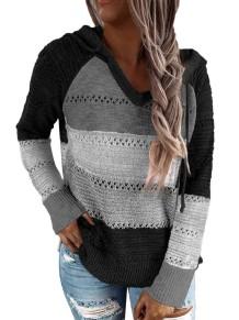 Suéter com capuz com decote em V contrastado outono