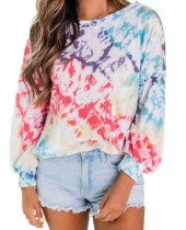 Autumn Tie Dye O-Neck Regular Shirt