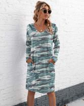 Vestido de camisa de camuflaje con cuello en V informal de otoño