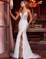 Sommer White Lace Side Slit Strap Meerjungfrau Abendkleid