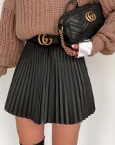 Winter schwarzer Falten-Kurzrock mit hoher Taille