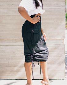 Summer Black High Waist Strings Midi Skirt with Pockets