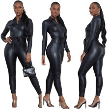 Winter Black Leather Button Up Bodycon Jumpsuit with Belt