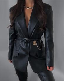 Winter Vintage Style Black Button Up Leather Blazer