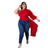 Plus Size Autumn One Schulter Solid Fringe Party Top