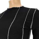 Plus Size Autumn Stripes Geripptes Basic Top