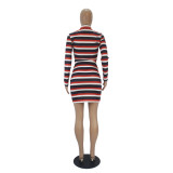 Autumn Party Stripes Shirt and Matching Mini Skirt Set
