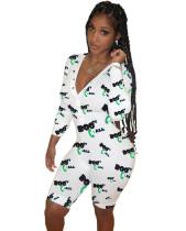 Autumn Print Sexy V-Neck Button Up Short Onesie Pajama