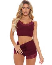 Summer Lace Patchwork Strap Vest and Shorts Pajama Set