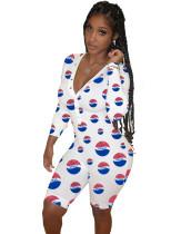 Pijama de mono corto con cuello en V sexy con estampado de otoño