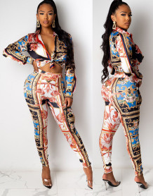 Autumn Retro Print Blouse and Pants Suit