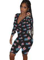 Herbstdruck Sexy V-Ausschnitt Button Up Short Onesie Pyjama