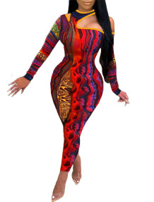 Autumn Sexy Colorful Print Cut Out One Shoulder Bodycon Jumpsuit