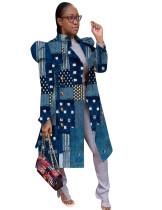 Herbstdruck Blue Puff Sleeve Long Jacket
