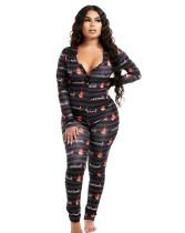 Herbst Cute Print Button Up V-Ausschnitt Onesie Pyjama