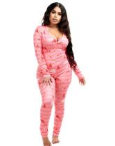 Pyjama ajusté à col en V et imprimé mignon de Noël