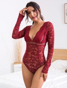 Autumn Sexy V-Neck Lace Bodysuit