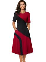 Vintage Stil Kontrast O-Ausschnitt anständiges Kleid