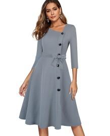 Vintage stijl solide knop omhoog fatsoenlijke jurk