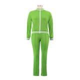 Fato de treino casual de outono casual de manga longa verde claro com zíper e detalhes de acabamento listrado