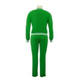 Fato de treino casual de outono casual de manga comprida verde com zíper com detalhes de acabamento listrado