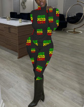Sexy Rollkragenpullover und Hose mit Frühlingsmuster