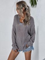 Spring Solid V-Ausschnitt Pullover Loose Sweater
