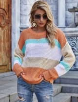 Lockerer Pullover mit O-Ausschnitt und Federkontrast