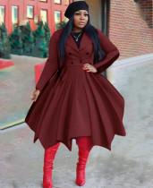 Winter Solid Plissee Blazer Skater Kleid