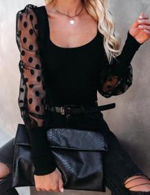 Spring Black Vintage Style Puff Sleeve Basic Shirt