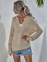 Suéter suelto con cuello en V sólido de primavera