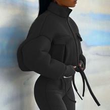 Veste courte zippée à col roulé d'hiver