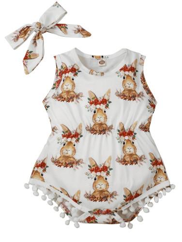 一致するヘッドバンドが付いている女の赤ちゃんの夏のノースリーブプリントロンパース